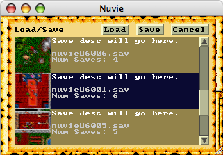 The Load/Save dialog that's taken the place of the Save and Restore commands of the original. It has a 'thumbnail' of your surroundings, and room for a description.